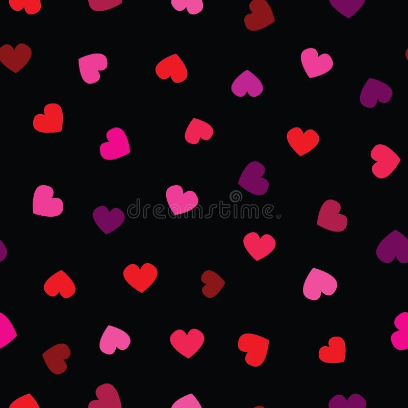 无缝的传染媒介样式,在黑背景的红心 红色,桃红色,oragne,lila,紫罗兰色心脏,减速火箭的颜色 库存例证
