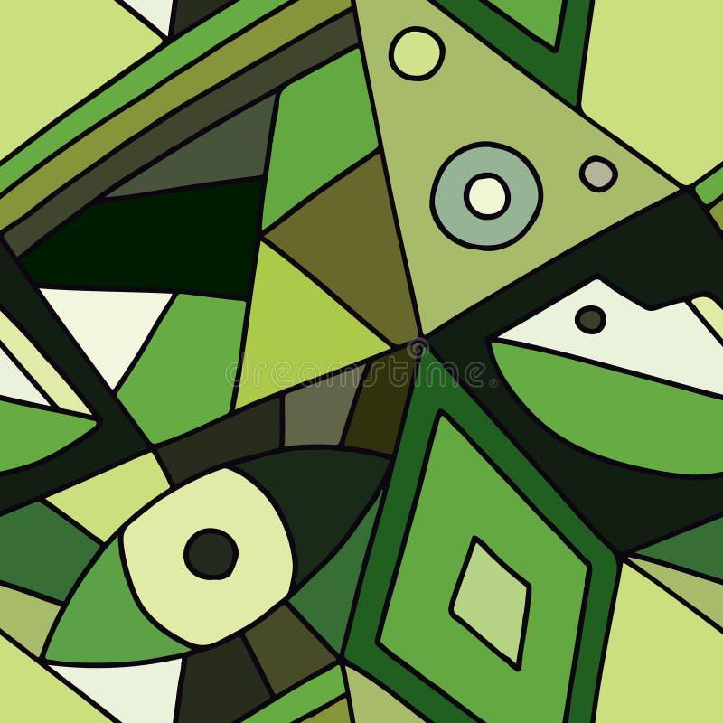 无缝的传染媒介样式,绿色排行了与菱形,三角的不对称的几何背景 装饰的,墙纸,packagin印刷品 向量例证