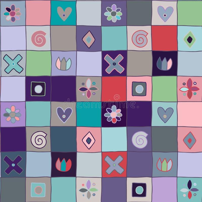 无缝的传染媒介样式,逗人喜爱装饰几何手拉与纯稚元素,小点,正方形,圈子,十字架,长方形, 向量例证