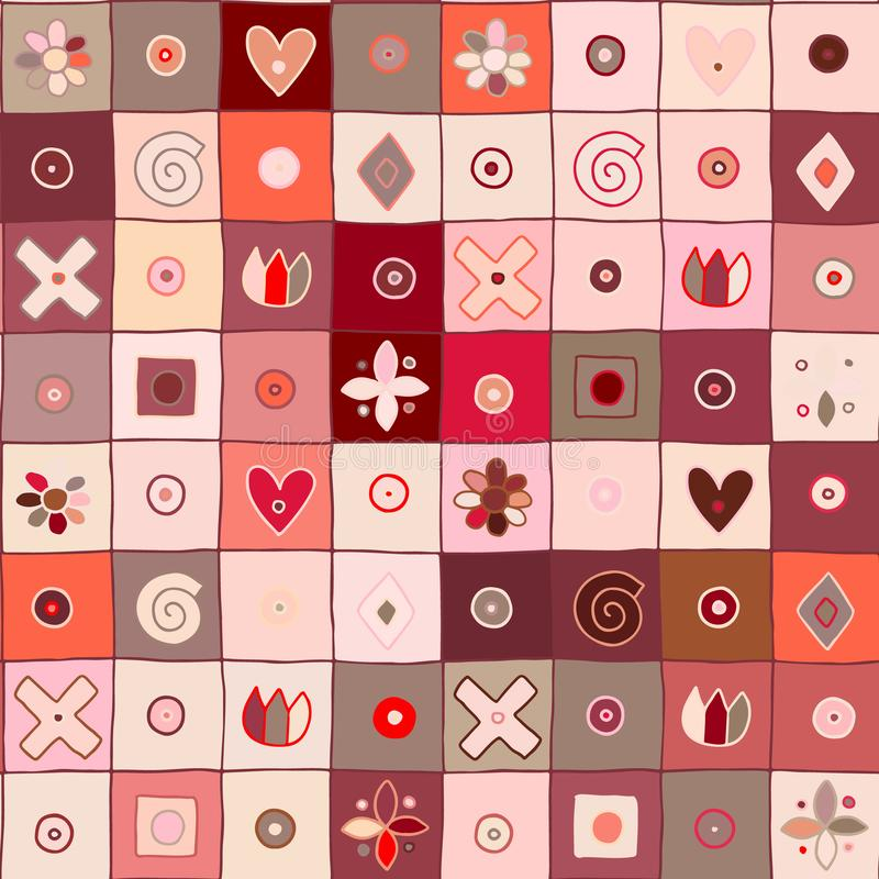 无缝的传染媒介样式,逗人喜爱装饰几何手拉与纯稚元素,小点,正方形,圈子,十字架,长方形, 库存例证