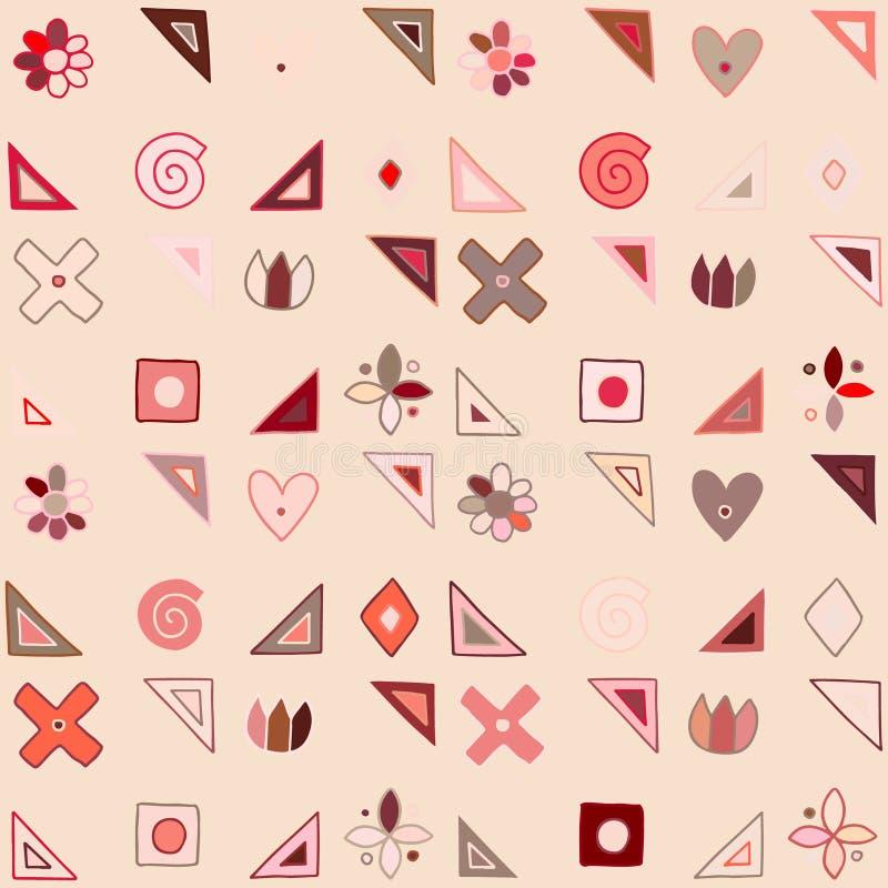 无缝的传染媒介样式,逗人喜爱装饰几何手拉与纯稚元素,小点,正方形,圈子,十字架,长方形, 皇族释放例证