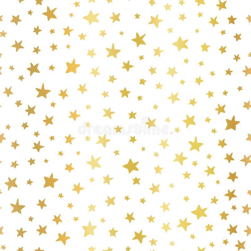 无缝的传染媒介背景手拉的星金箔 圣诞节和庆祝的样式 在白色的手拉的金黄星 库存例证
