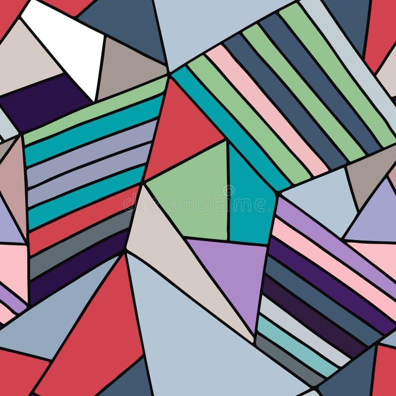 无缝的传染媒介蓝色样式,排行了与菱形,三角的不对称的几何背景 装饰的,墙纸印刷品,包装 向量例证