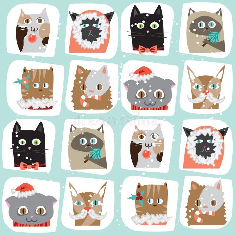 无缝的传染媒介被说明的动画片圣诞节猫背景 C 免版税库存图片