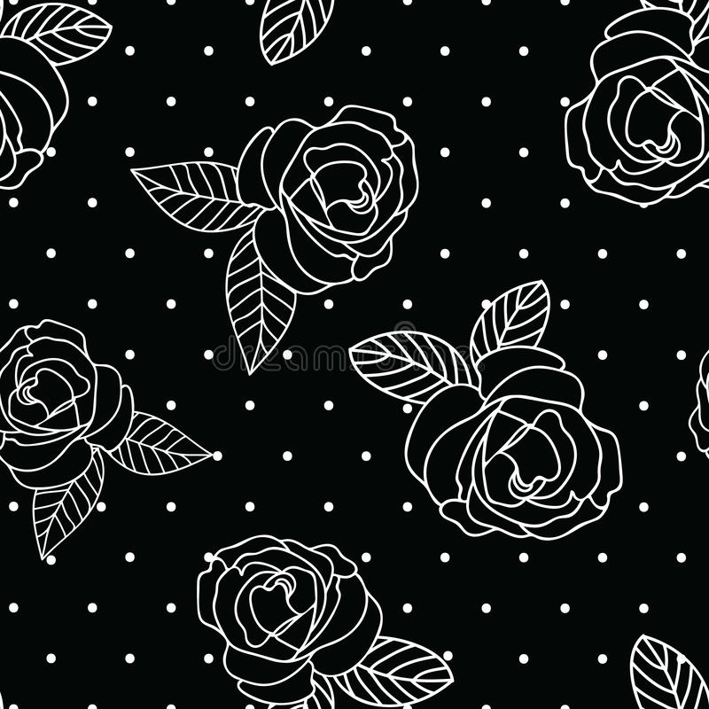 无缝的传染媒介重复黑白葡萄酒玫瑰印刷品有小点背景 向量例证