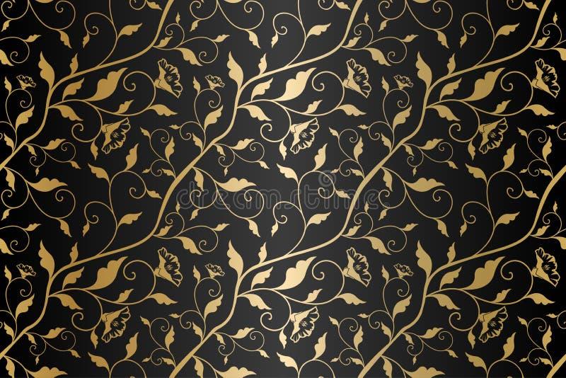 无缝的传染媒介金黄纹理花卉样式 豪华重复的锦缎黑背景 优质包装纸或丝绸金布料 库存例证