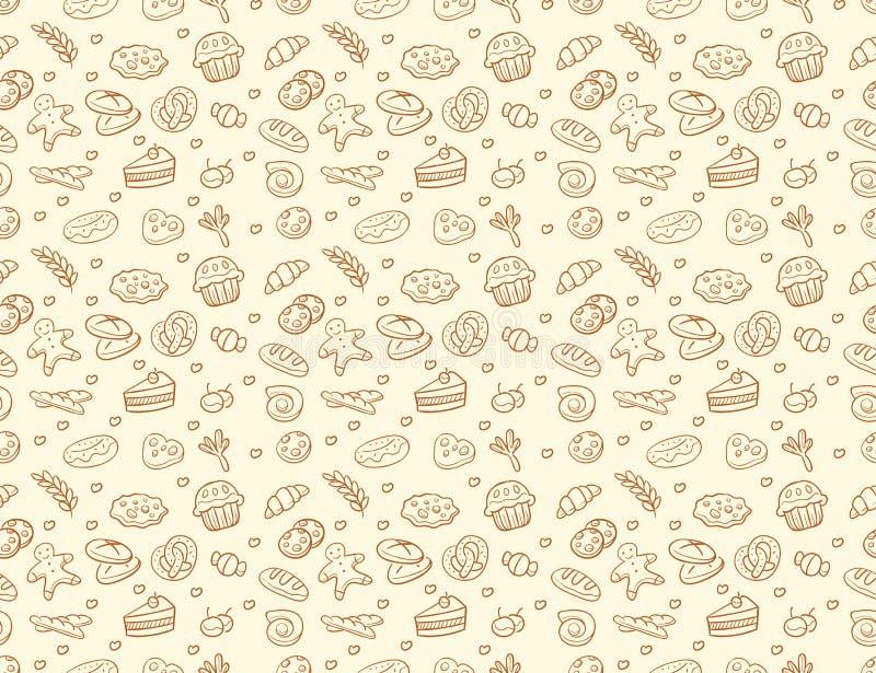 无缝的传染媒介面包店&酥皮点心样式 向量例证