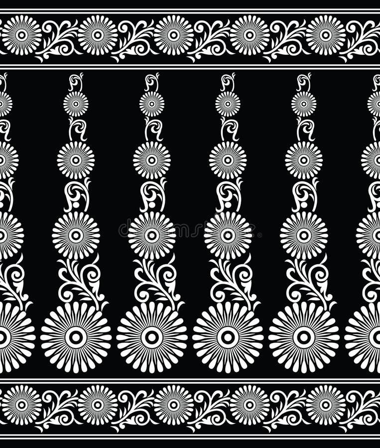 无缝的传染媒介黑白装饰花卉边界 库存例证