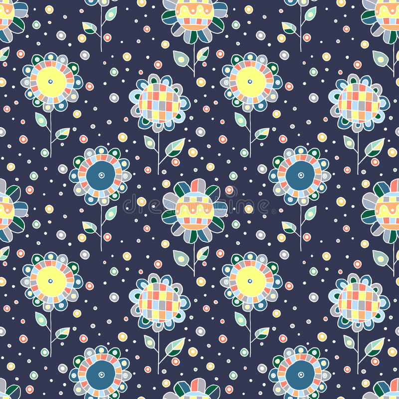 无缝的传染媒介手拉的乱画纯稚花卉样式 与幼稚花,叶子的背景 装饰逗人喜爱的图表线 库存例证