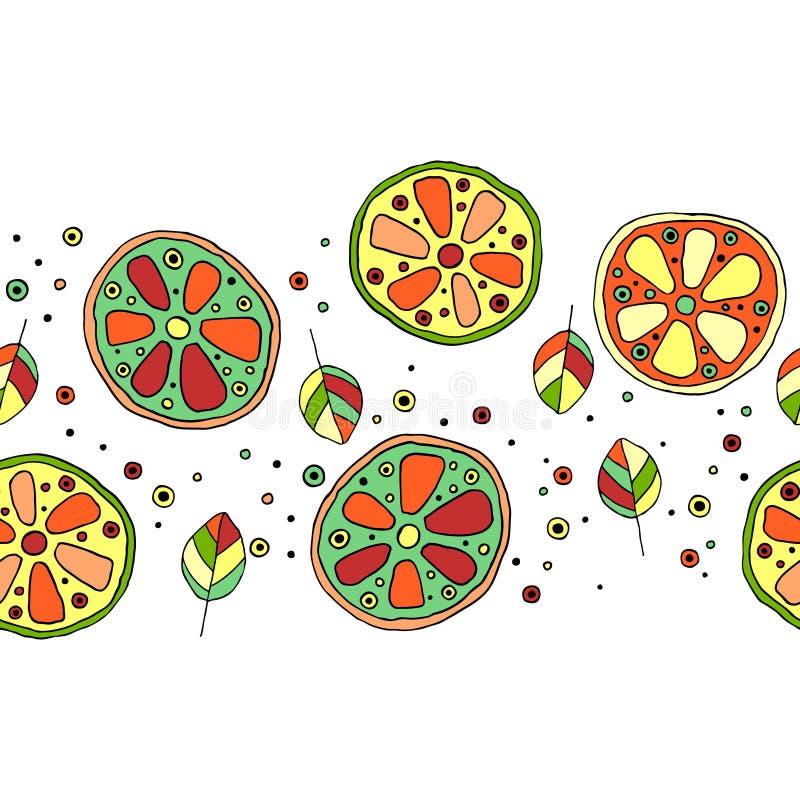 无缝的传染媒介手拉的幼稚样式,边界,用果子 逗人喜爱的纯稚石灰,柠檬,桔子,与叶子的葡萄柚,种子 库存例证