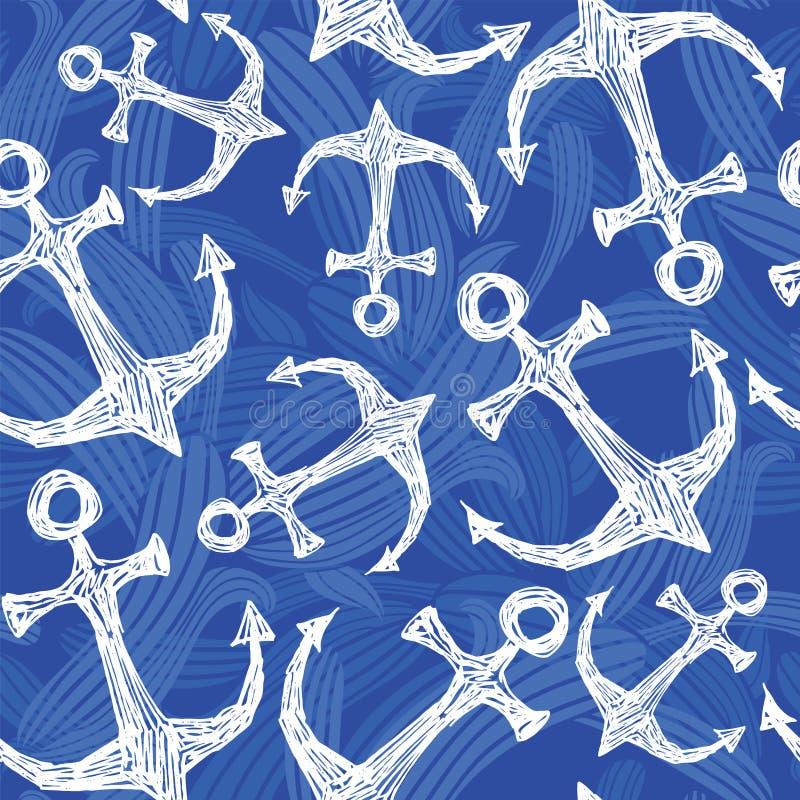 无缝的传染媒介样式手拉的海锚