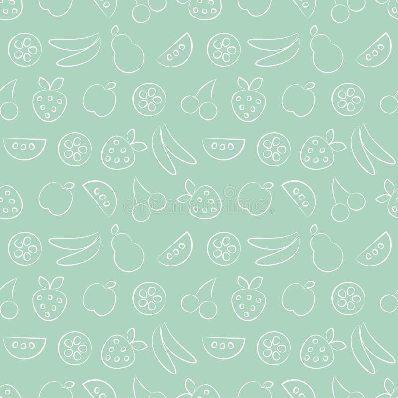 无缝的传染媒介样式用果子 淡色绿色背景用草莓、香蕉、苹果、梨、西瓜和樱桃 皇族释放例证