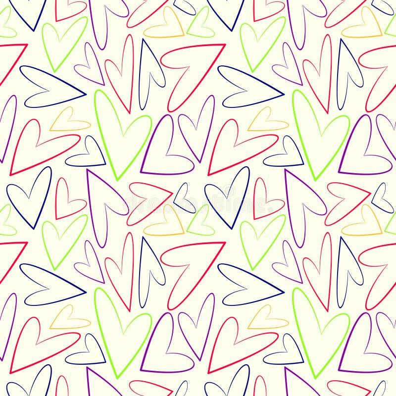 Download 无缝的传染媒介样式,与五颜六色的不对称的心脏的白色混乱背景 向量例证 - 插画 包括有 华伦泰, 装饰: 62529932