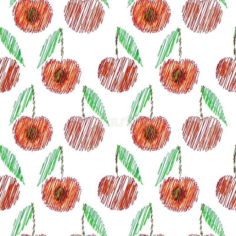 无缝的传染媒介样式,明亮的果子背景用樱桃,整个和半在白色背景 向量例证