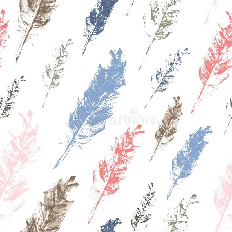 无缝的传染媒介样式-淡色手拉的羽毛 向量例证