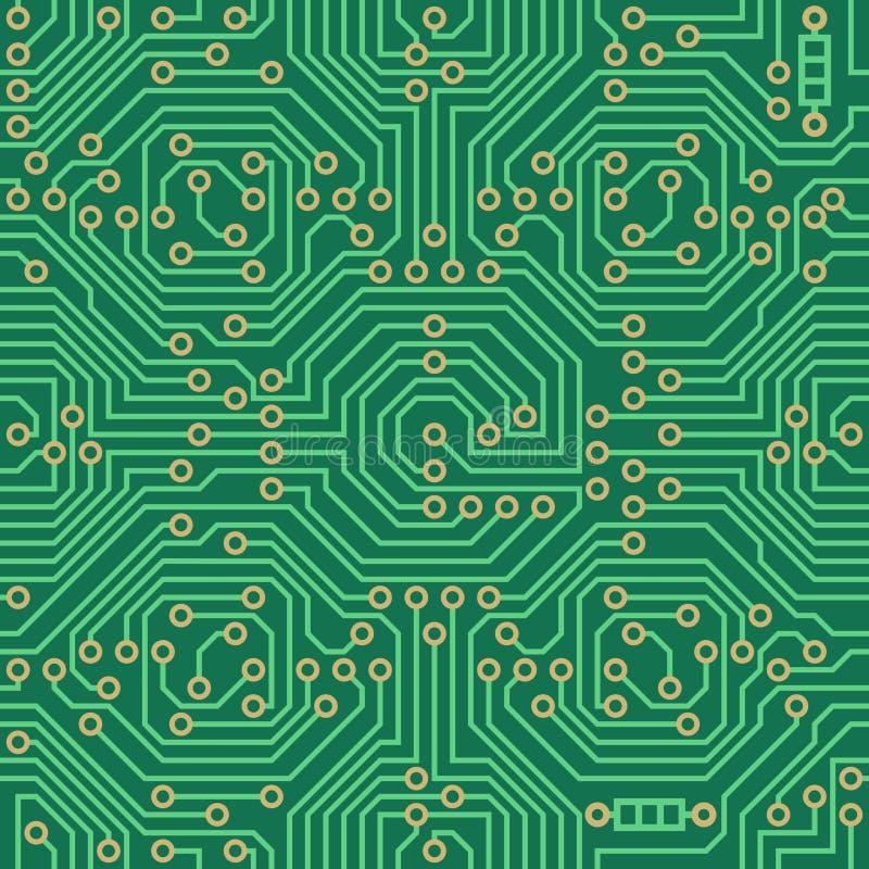 无缝的传染媒介样式-电子线路板背景 库存例证