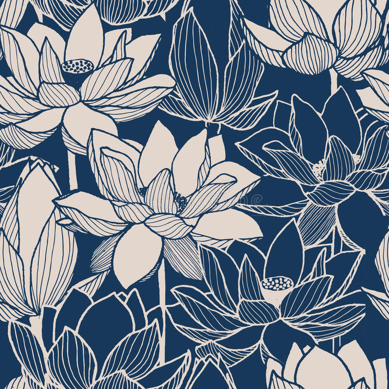 无缝的传染媒介花卉莲花手拉的样式 皇族释放例证