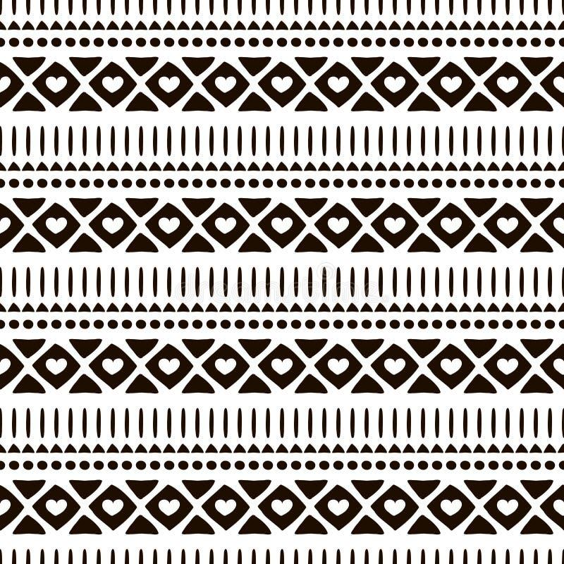 无缝的传染媒介装饰物样式 与传统种族主题公司绘画的手拉的黑白几何背景 向量例证