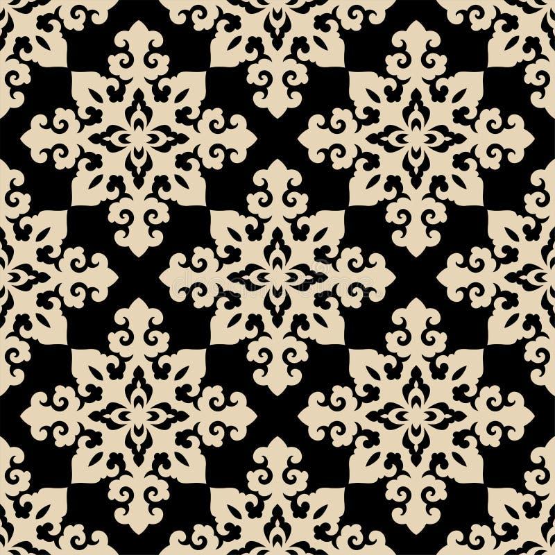 无缝的传统亚洲人装饰动机,日语,汉语或者韩语和更多 与重复的几何样式 库存例证