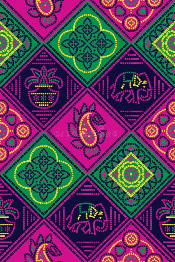 无缝的传统方巾样式 向量例证