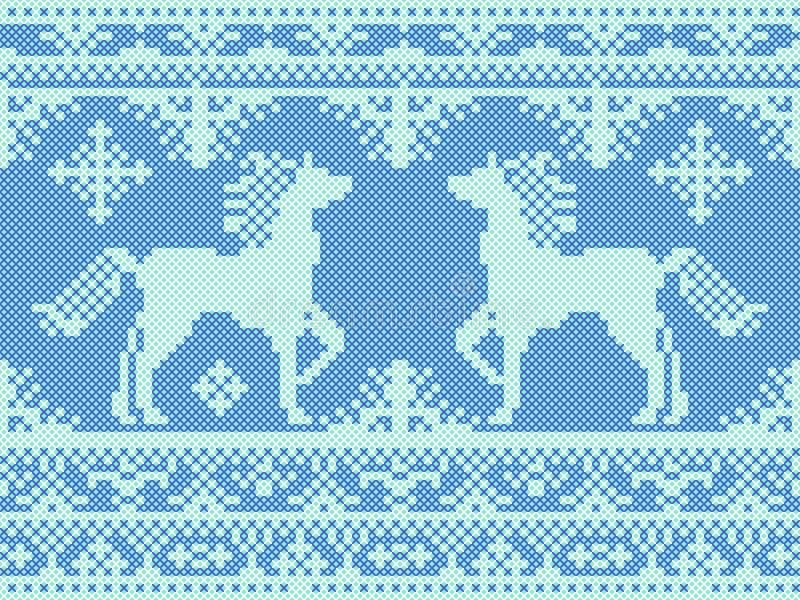 无缝的传统刺绣圣诞节样式 库存例证