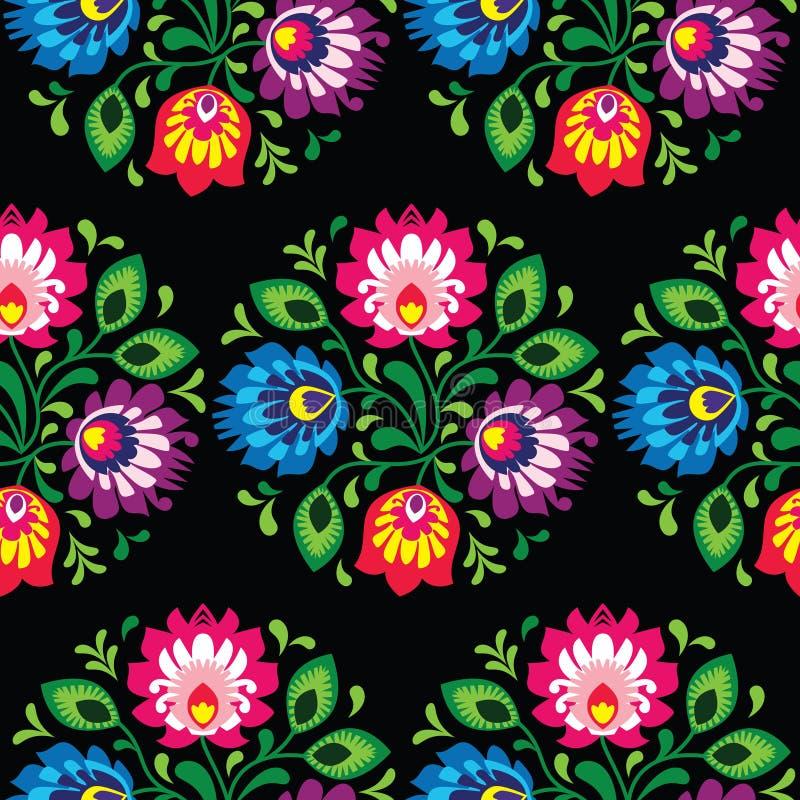 无缝的传统花卉波兰样式-种族背景 向量例证