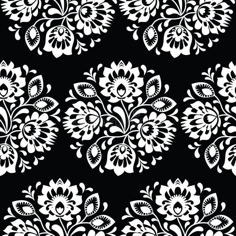 无缝的传统花卉波兰民间艺术样式 库存例证