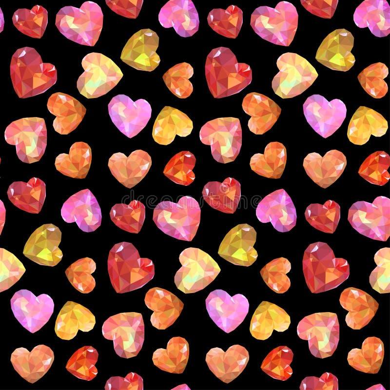 无缝的低多传染媒介心脏样式 盖子的,纸,礼物,织品,纺织品纹理 装饰在情人节 皇族释放例证
