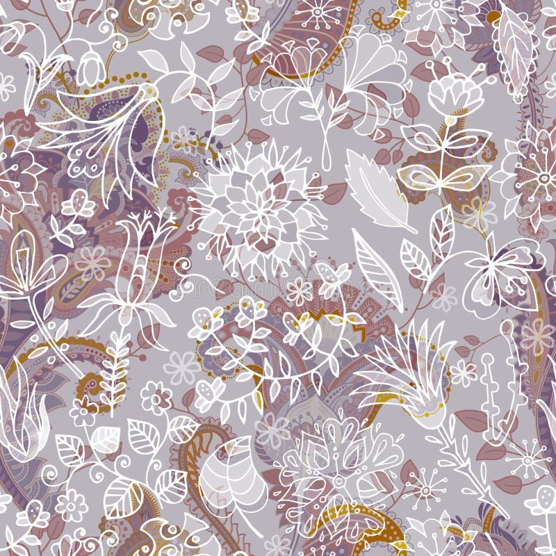 无缝的佩兹利背景,花卉样式 五颜六色的装饰背景 与装饰花的颜色墙纸 向量例证