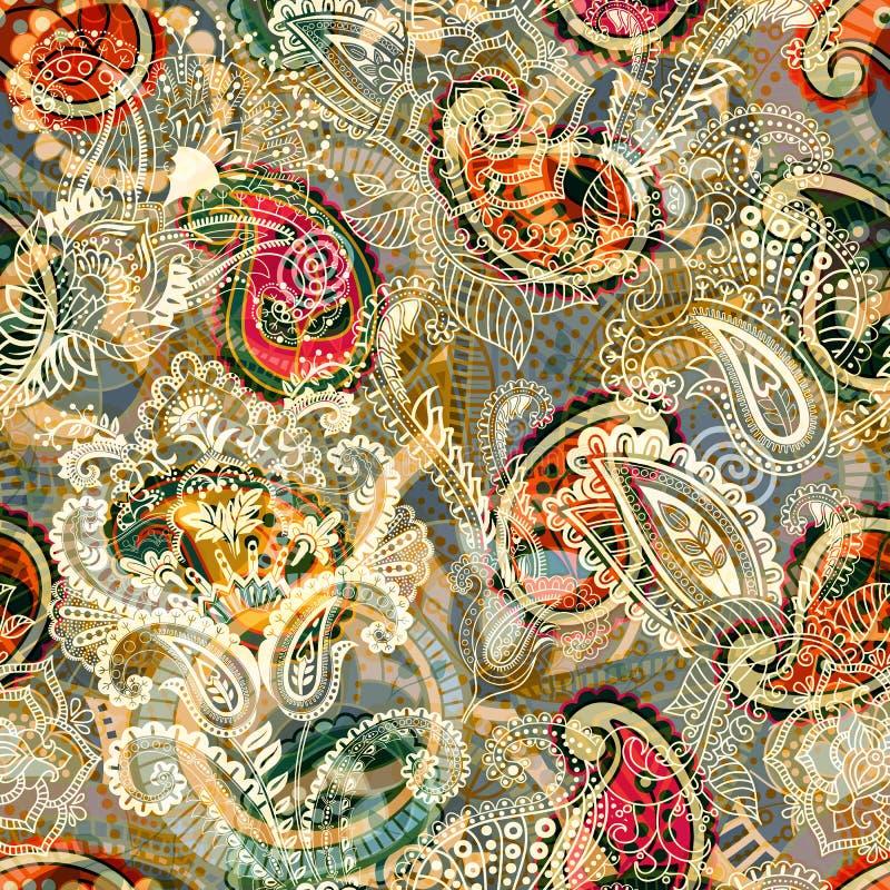 无缝的佩兹利背景,花卉样式 五颜六色的装饰背景 与装饰花的颜色墙纸 库存例证