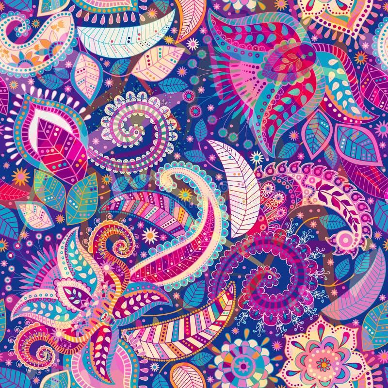 无缝的佩兹利背景,花卉样式 五颜六色的装饰背景 向量例证