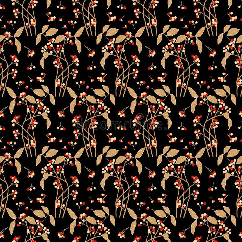 无缝的俏丽的花莓果黑暗样式 向量例证