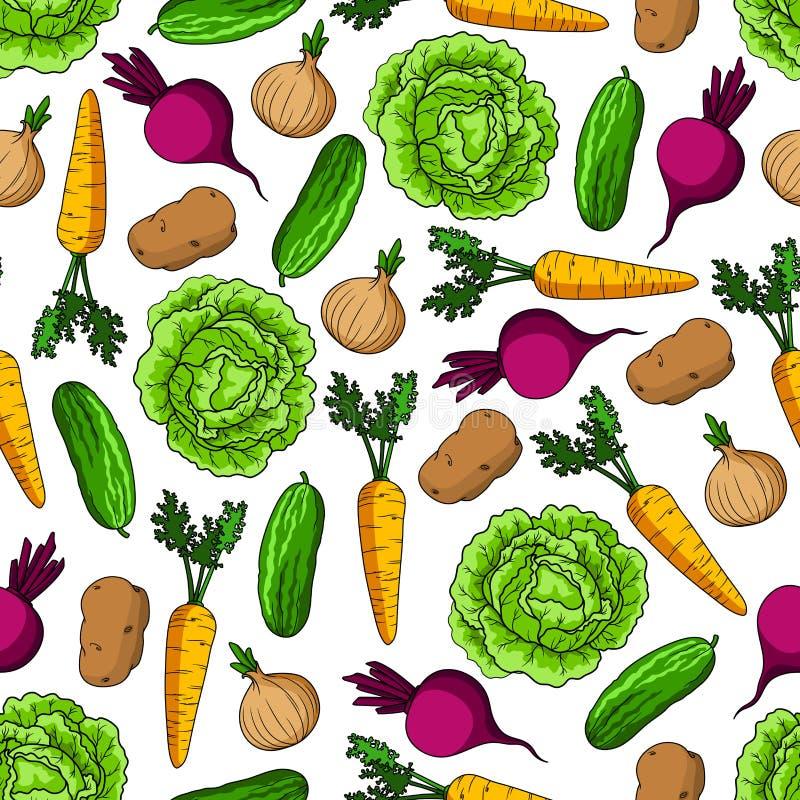 无缝的健康农厂菜样式 库存例证