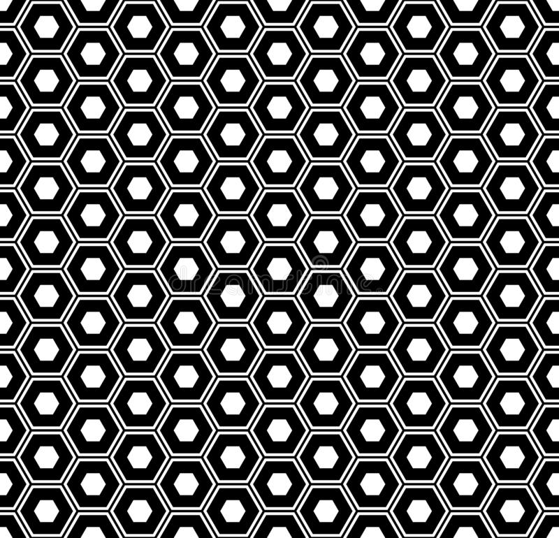 无缝的六角形样式 黑白几何纹理和背景 库存例证