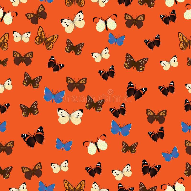 无缝的共同的蝴蝶图案 向量例证