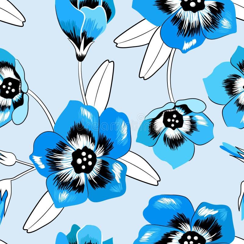 无缝的典雅的花卉会开蓝色钟形花的草样式 向量例证