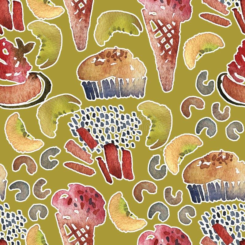无缝的冰淇凌样式 水彩手拉的夏天海滩印刷品用冰棍和冰淇淋在奶蛋烘饼杯子 库存例证