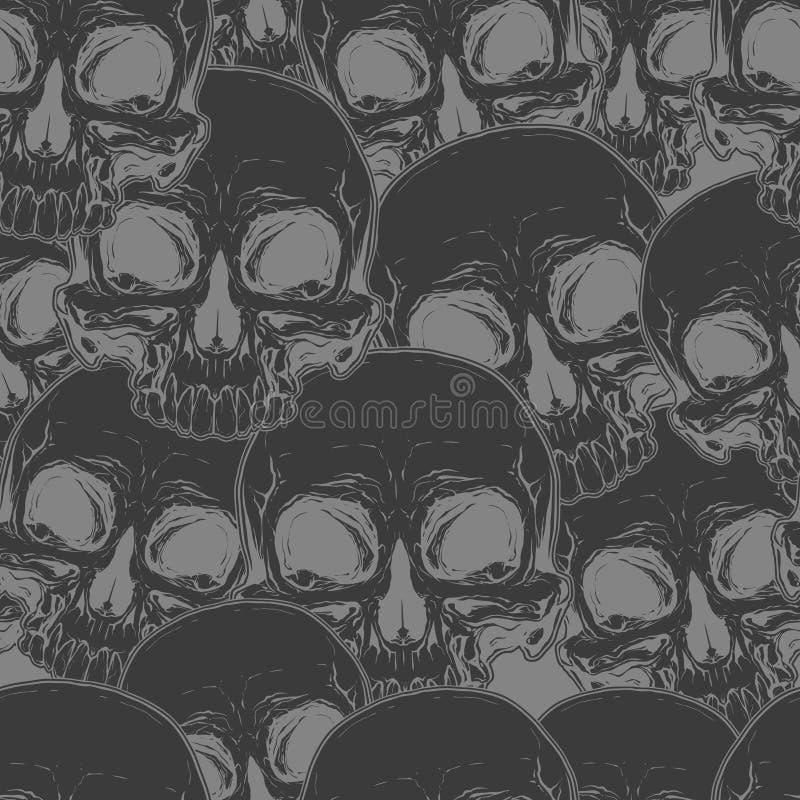 无缝的凉快的黑头骨纹身花刺样式 皇族释放例证