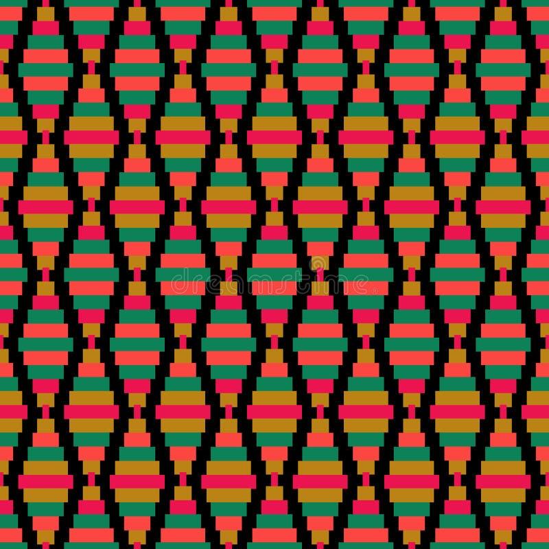 无缝的减速火箭的几何样式设计纹理背景 库存例证