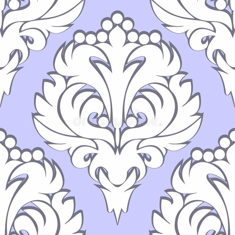 无缝的减速火箭的花卉样式-在蓝色的白色 库存例证