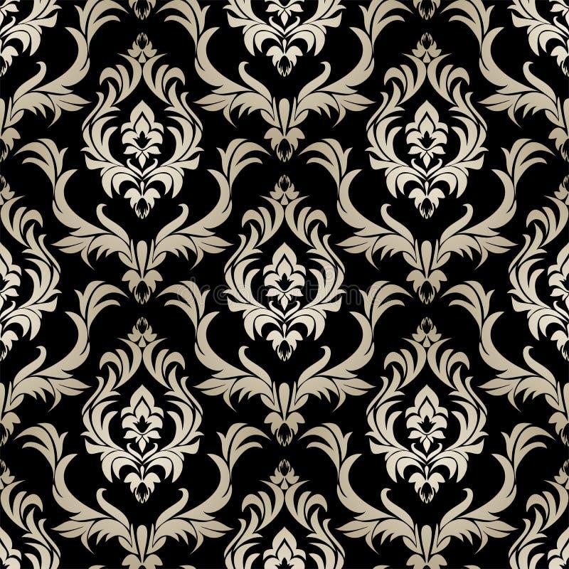 无缝的减速火箭的锦缎墙纸-在黑色的银色花饰 皇族释放例证