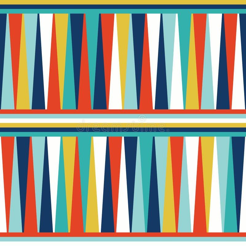 无缝的几何与五颜六色的三角和水平的条纹的样式传染媒介背景摘要葡萄酒减速火箭的设计艺术 库存例证