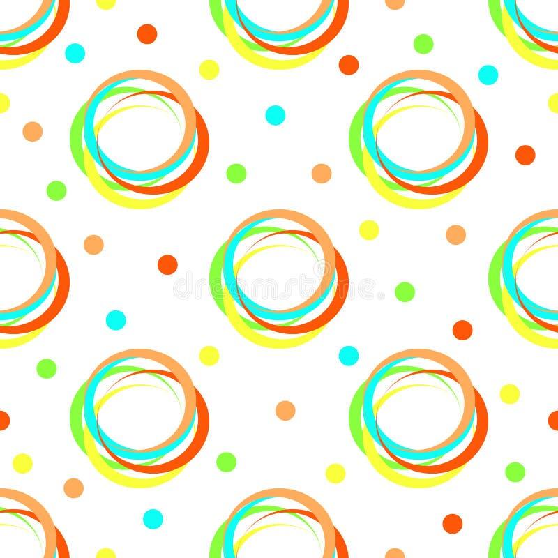 无缝的几何与五颜六色的圈子和圆点的葡萄酒减速火箭的传染媒介样式背景设计现代美术铺磁砖了白色叫喊 皇族释放例证