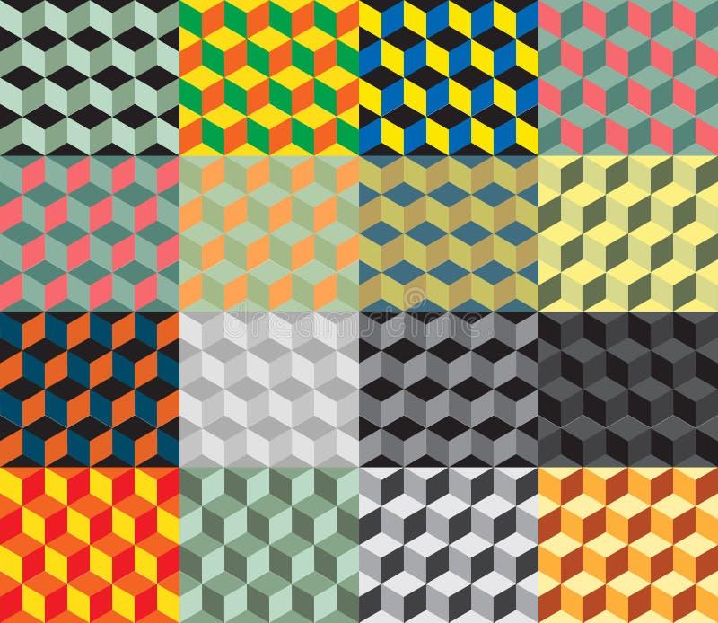 无缝的几何五颜六色的传染媒介背景 立方体形状 光学的幻觉 皇族释放例证