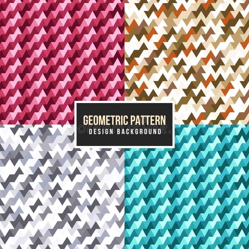 无缝的几何五颜六色的样式集合传染媒介设计 向量例证