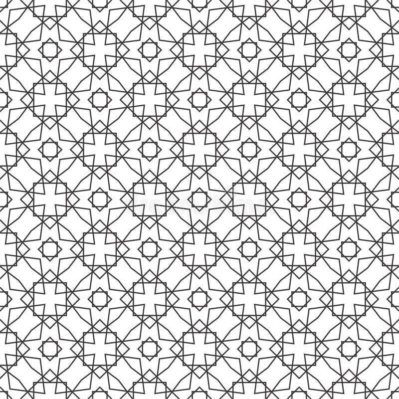 无缝的几何传染媒介背景,简单黑白 皇族释放例证