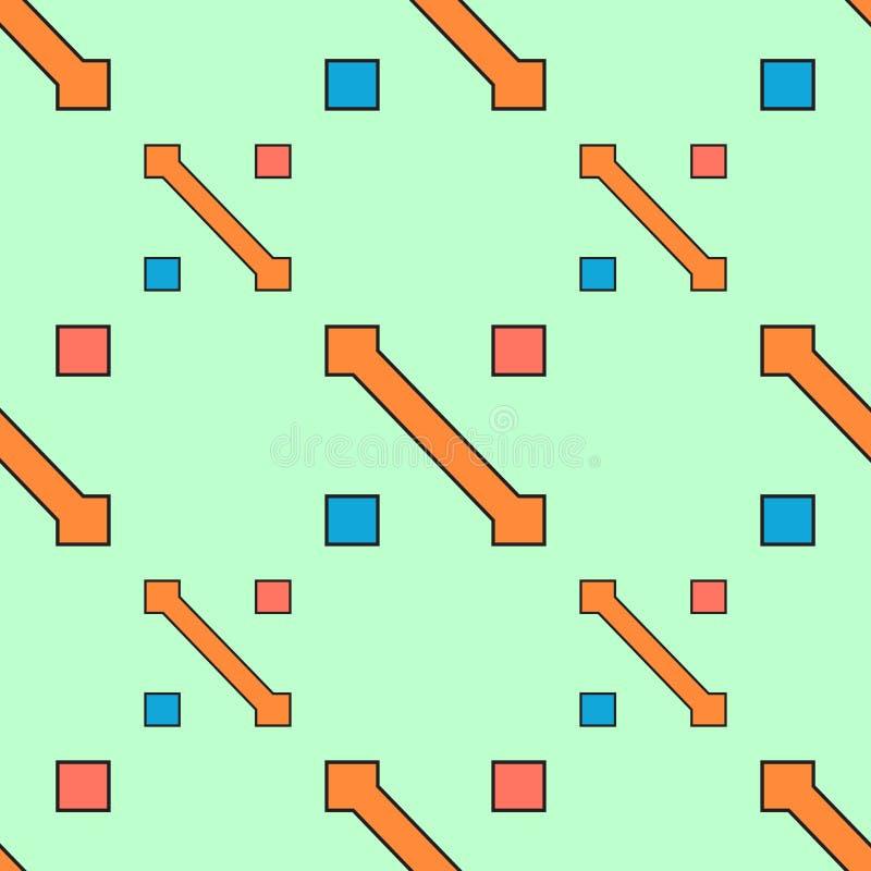 无缝的几何抽象与箭头和正方形橙色水色蓝色p的样式传染媒介背景五颜六色的设计葡萄酒减速火箭的艺术 皇族释放例证