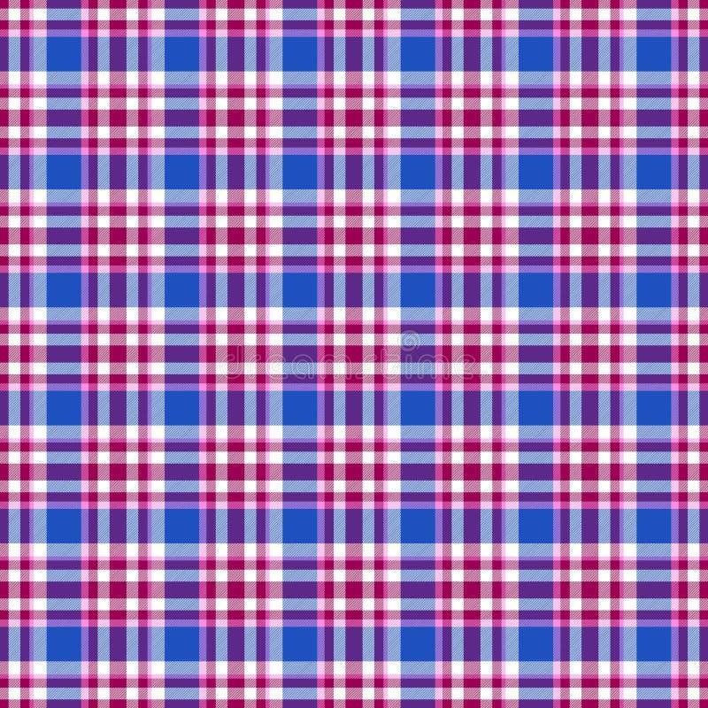 无缝的几何方格花布样式 E 蓝色,桃红色,紫色和白色条纹 库存例证