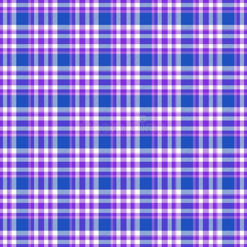 无缝的几何方格花布样式 E 蓝色,紫罗兰色,紫色和白色条纹 向量例证