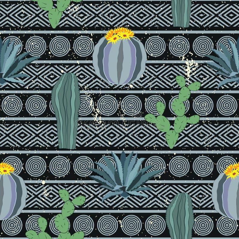 无缝的几何样式用仙人掌 五颜六色的墨西哥题材装饰品 库存例证